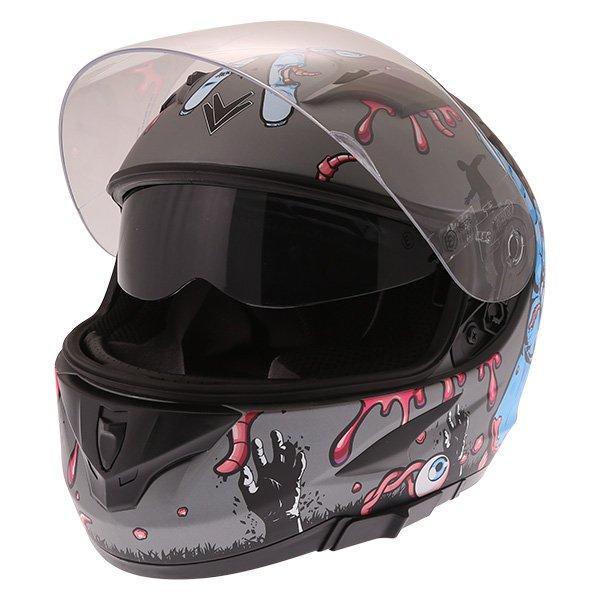 Frank Thomas FT36SV Zombie Grey Full Face Motorcycle Helmet Open With Sun Visor