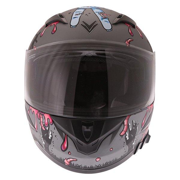 Frank Thomas FT36SV Zombie Grey Full Face Motorcycle Helmet Front