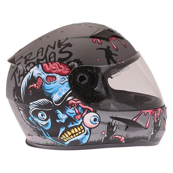 Frank Thomas FT36SV Zombie Grey Full Face Motorcycle Helmet Right Side
