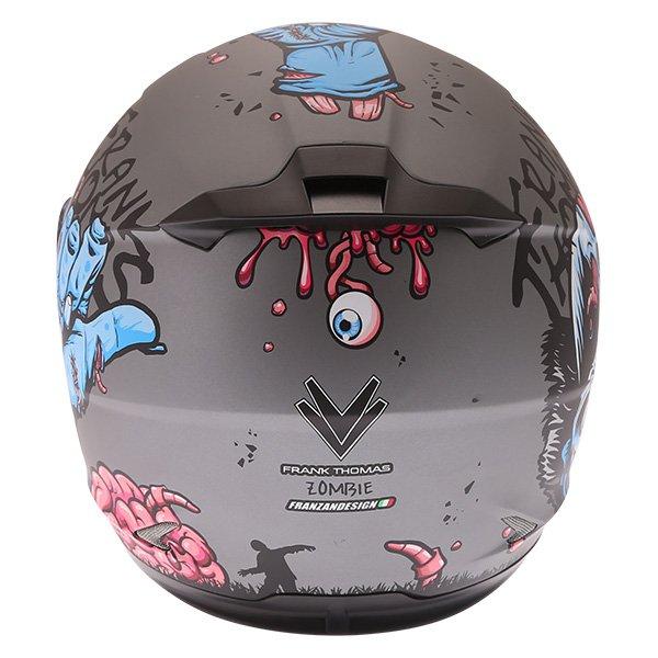 Frank Thomas FT36SV Zombie Grey Full Face Motorcycle Helmet Back