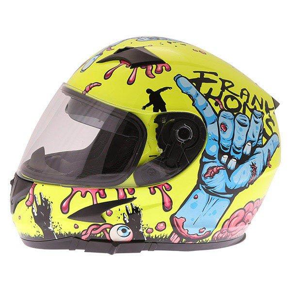 Frank Thomas FT36SV Zombie Yellow Full Face Motorcycle Helmet Left Side
