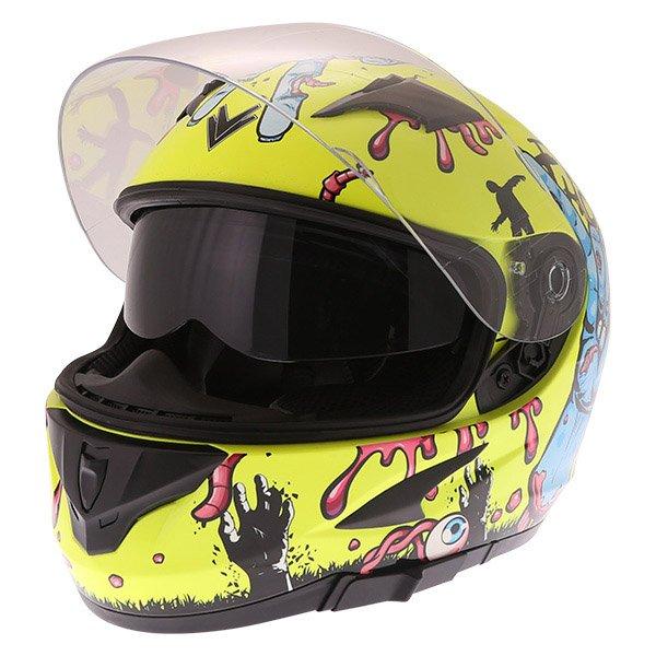 Frank Thomas FT36SV Zombie Yellow Full Face Motorcycle Helmet Open With Sun Visor