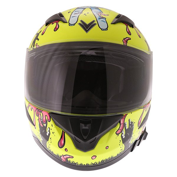 Frank Thomas FT36SV Zombie Yellow Full Face Motorcycle Helmet Front