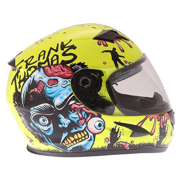 Frank Thomas FT36SV Zombie Yellow Full Face Motorcycle Helmet Right Side