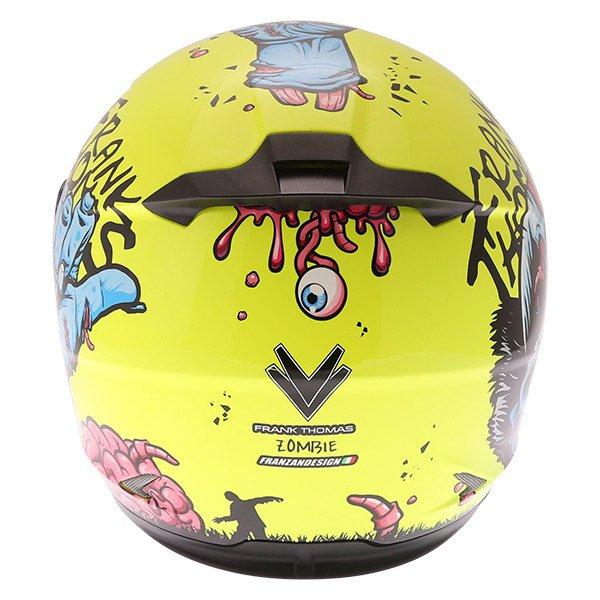 Frank Thomas FT36SV Zombie Yellow Full Face Motorcycle Helmet Back