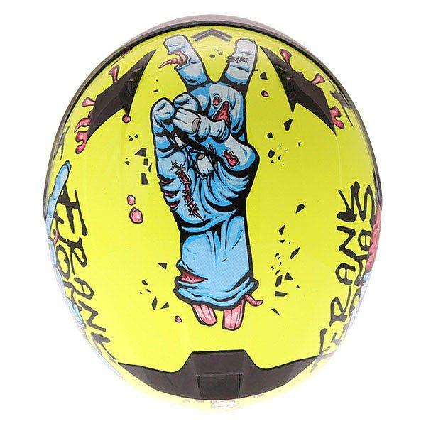 Frank Thomas FT36SV Zombie Yellow Full Face Motorcycle Helmet Top