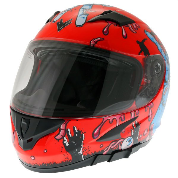Frank Thomas FT36SV Zombie Orange Full Face Motorcycle Helmet Front Left