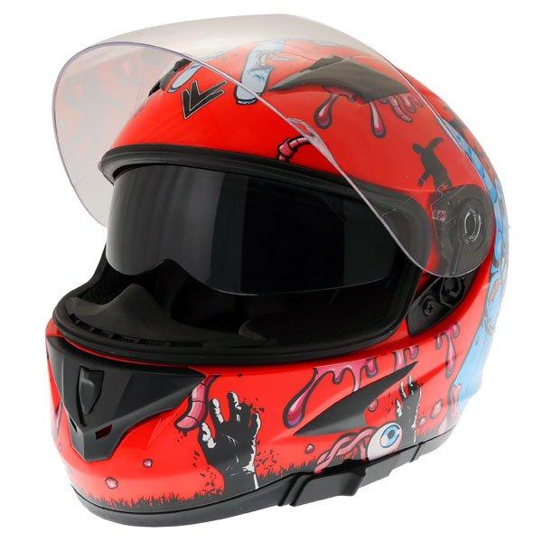 Frank Thomas FT36SV Zombie Orange Full Face Motorcycle Helmet Open With Sun Visor