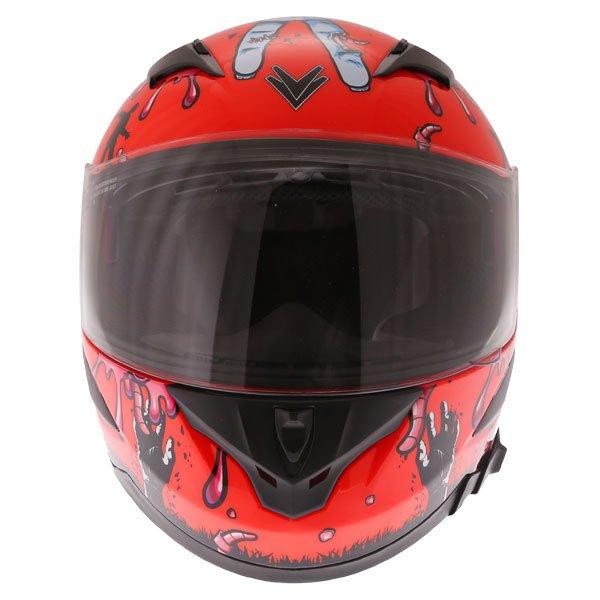 Frank Thomas FT36SV Zombie Orange Full Face Motorcycle Helmet Front