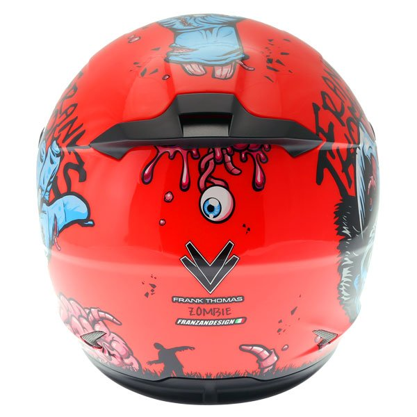Frank Thomas FT36SV Zombie Orange Full Face Motorcycle Helmet Back