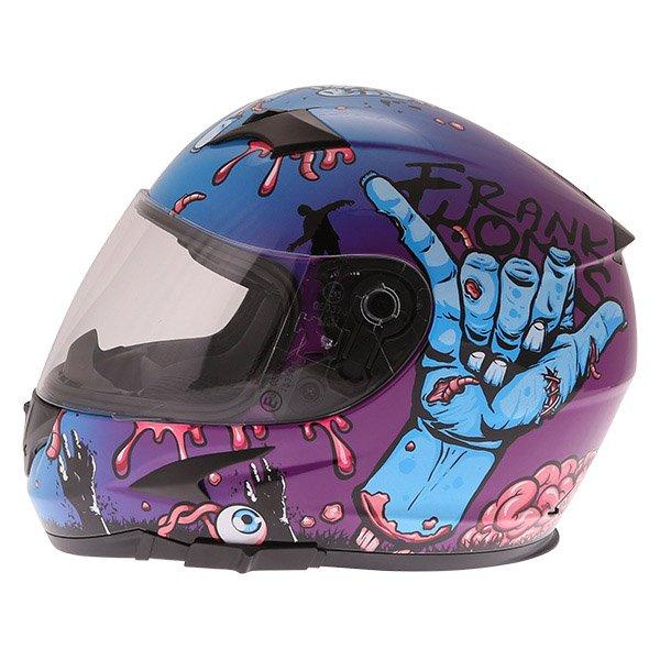 Frank Thomas FT36SV Zombie Blue Full Face Motorcycle Helmet Left Side