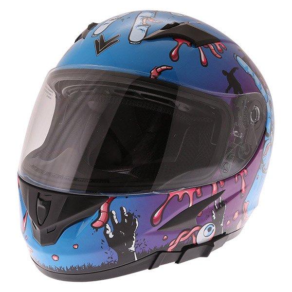 Frank Thomas FT36SV Zombie Blue Full Face Motorcycle Helmet Left Side Front Left
