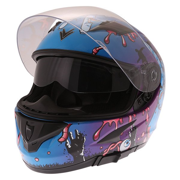 Frank Thomas FT36SV Zombie Blue Full Face Motorcycle Helmet Open Visor With Sun Visor