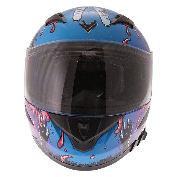 Frank Thomas FT36SV Zombie Blue Full Face Motorcycle Helmet Front