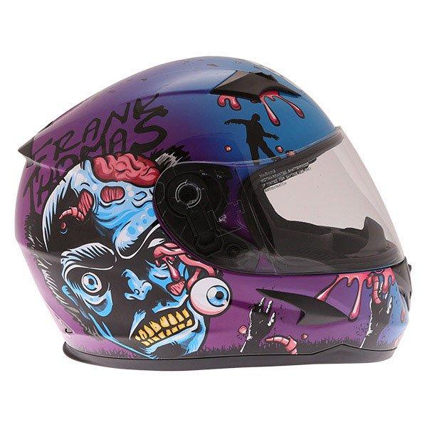 Frank Thomas FT36SV Zombie Blue Full Face Motorcycle Helmet Right Side