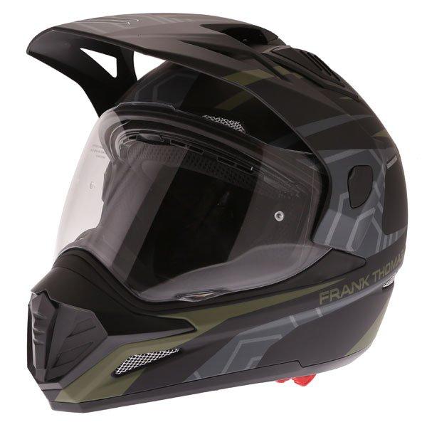Frank Thomas FTAS001 Adventure Dual Sport Matt Black Green Motorcycle Helmet Front Left