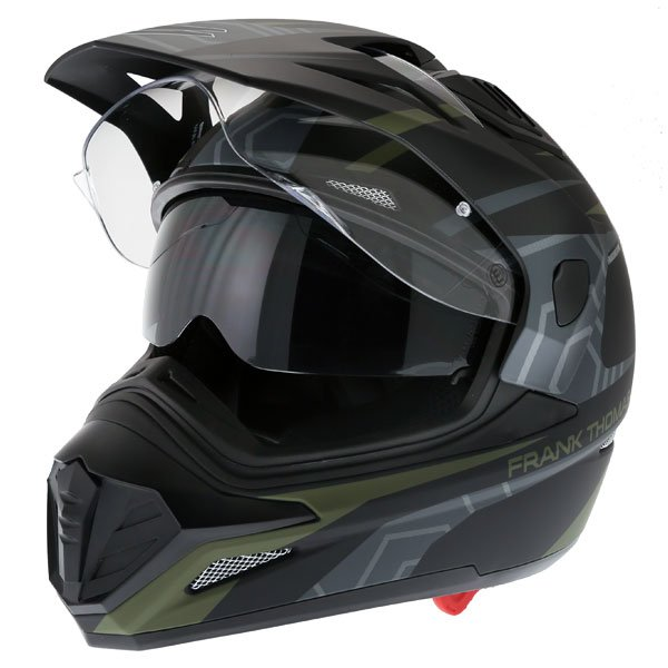 Frank Thomas FTAS001 Adventure Dual Sport Matt Black Green Motorcycle Helmet Open With Sun Visor