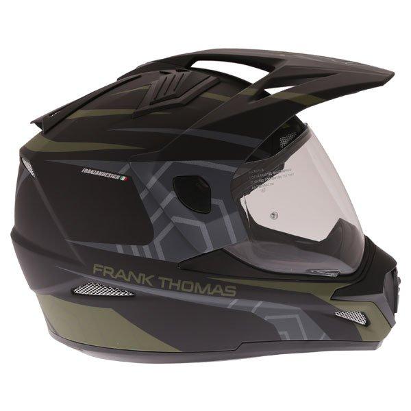 Frank Thomas FTAS001 Adventure Dual Sport Matt Black Green Motorcycle Helmet Right Side