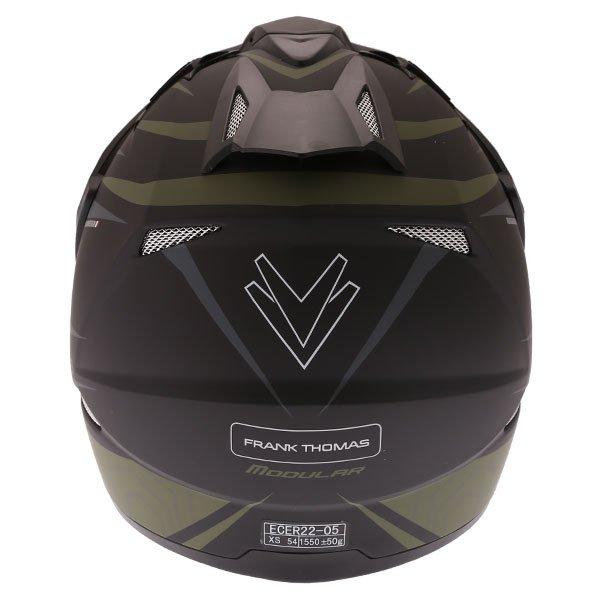 Frank Thomas FTAS001 Adventure Dual Sport Matt Black Green Motorcycle Helmet Back