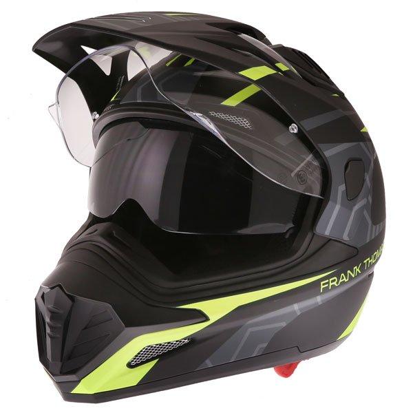Frank Thomas FTAS001 Adventure Dual Sport Matt Black Yellow Motorcycle Helmet Open With Sun Visor
