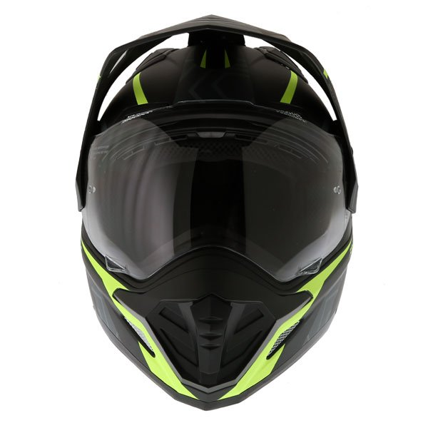 Frank Thomas FTAS001 Adventure Dual Sport Matt Black Yellow Motorcycle Helmet Front