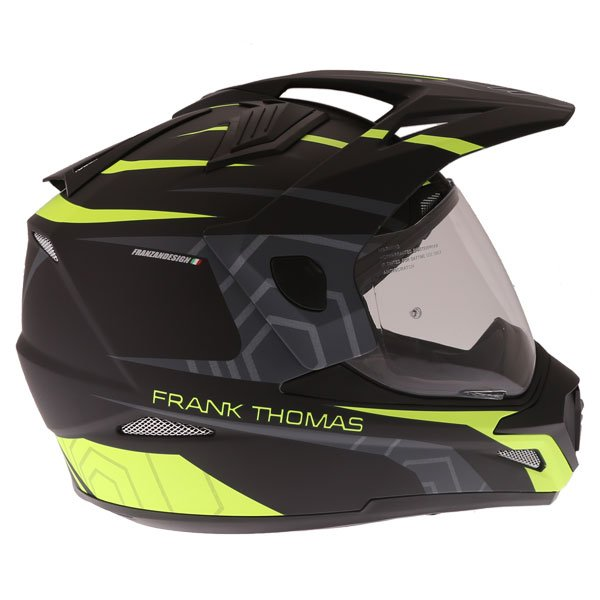 Frank Thomas FTAS001 Adventure Dual Sport Matt Black Yellow Motorcycle Helmet Right Side