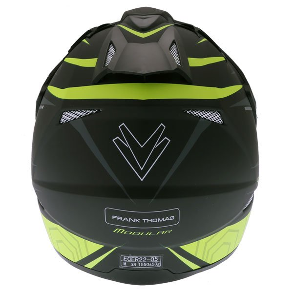 Frank Thomas FTAS001 Adventure Dual Sport Matt Black Yellow Motorcycle Helmet Back