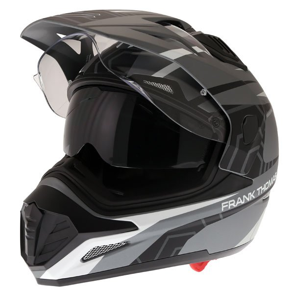 Frank Thomas FTAS001 Adventure Dual Sport Matt Black Grey Silver Motorcycle Helmet Open With Sun Visor