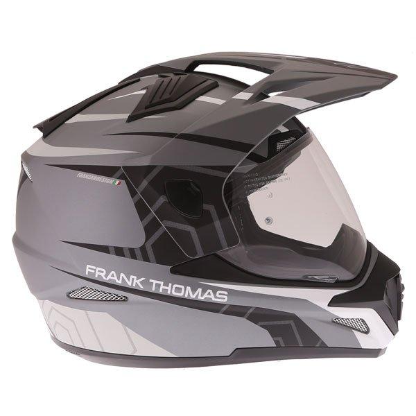 Frank Thomas FTAS001 Adventure Dual Sport Matt Black Grey Silver Motorcycle Helmet Right Side