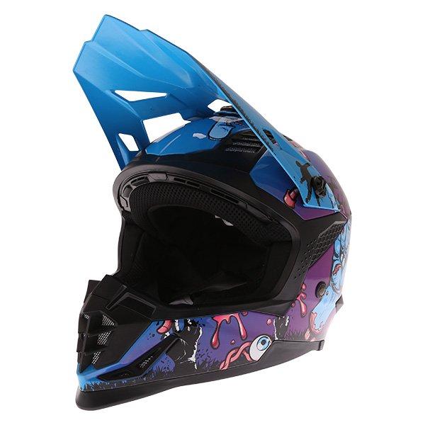 Frank Thomas SC16 Zombie Blue Motocross Helmet Front Left