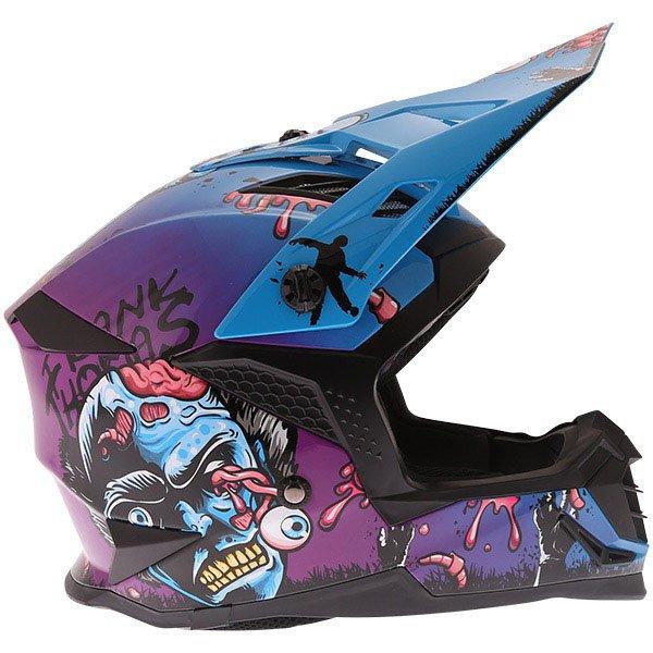 Frank Thomas SC16 Zombie Blue Motocross Helmet Right Side
