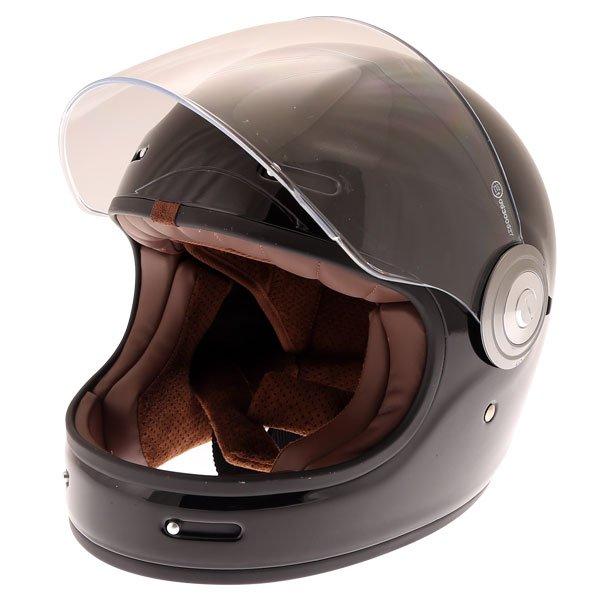 Force Bomber Black Full Face Motorcycle Helmet Open Visor