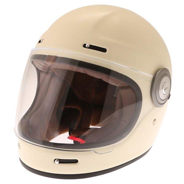 Force Bomber Vintage White Full Face Motorcycle Helmet Front Left