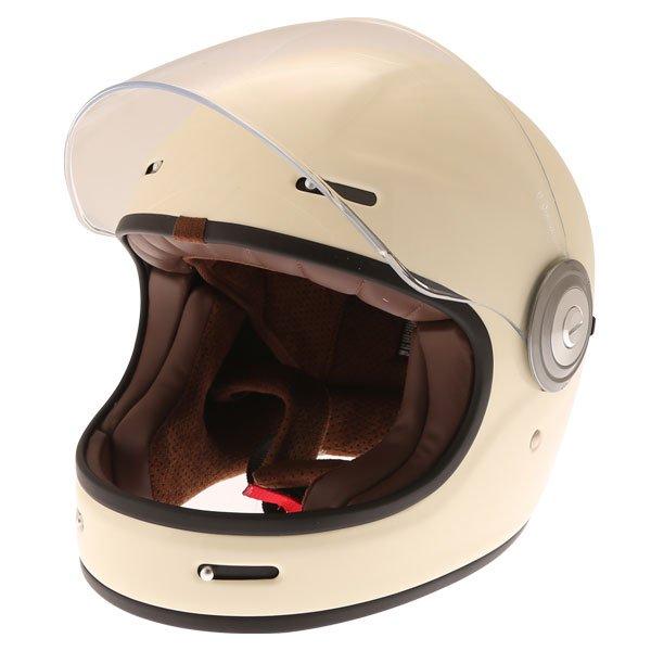 Force Bomber Vintage White Full Face Motorcycle Helmet Open Visor