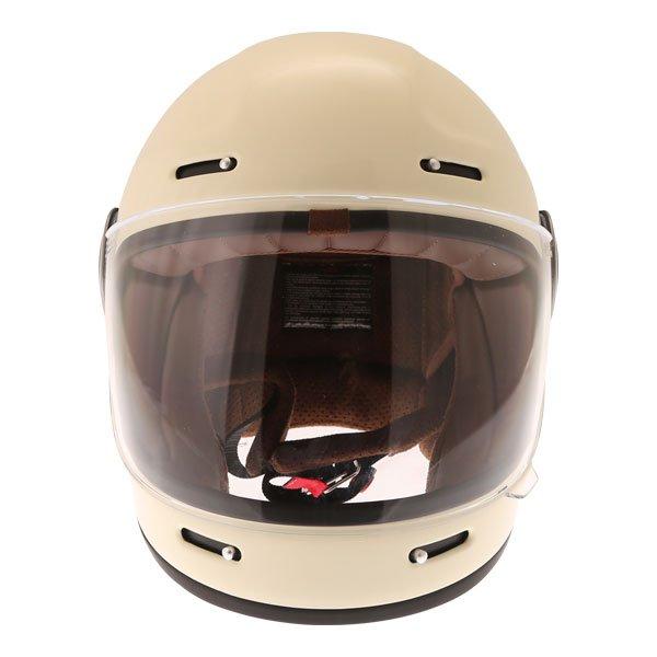 Force Bomber Vintage White Full Face Motorcycle Helmet Front