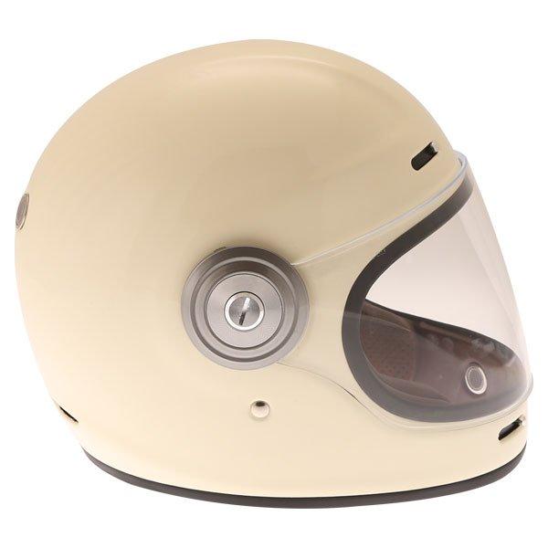Force Bomber Vintage White Full Face Motorcycle Helmet Right Side