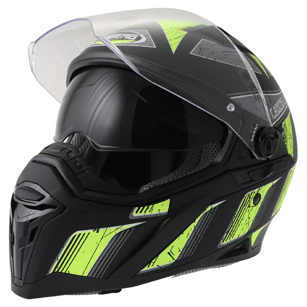 Caberg Stunt Steez Black Yellow Full Face Motorcycle Helmet Open With Sun Visor