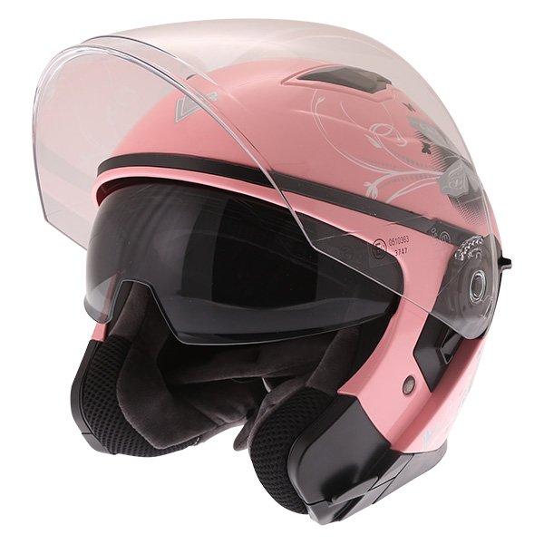 Frank Thomas FTDV31 Ladies Pink Open Face Motorcycle Helmet Open With Sun Visor