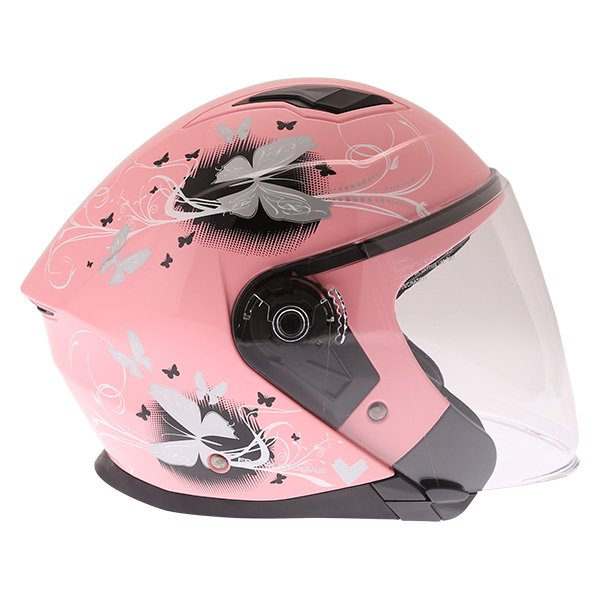Frank Thomas FTDV31 Ladies Pink Open Face Motorcycle Helmet Right Side