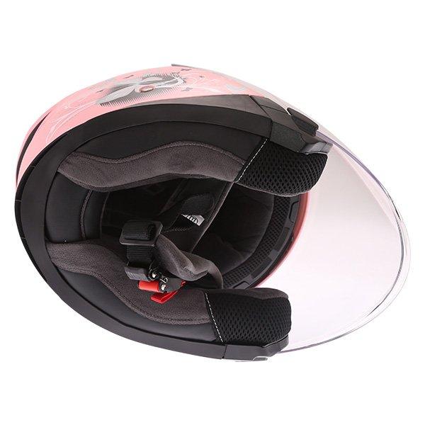 Frank Thomas FTDV31 Ladies Pink Open Face Motorcycle Helmet Inside