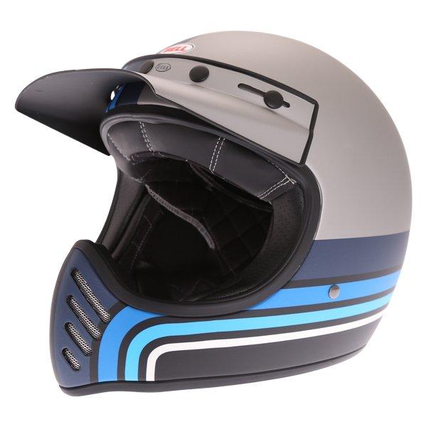 Moto-3 Stripes Helmet Silver Black Blue Adventure & Touring Motorcycle Helmets