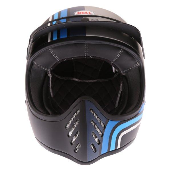 Bell Moto-3 Stripes Silver Black Blue Adventure Motorcycle Helmet Front