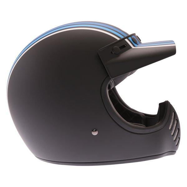 Bell Moto-3 Stripes Silver Black Blue Adventure Motorcycle Helmet Right Side
