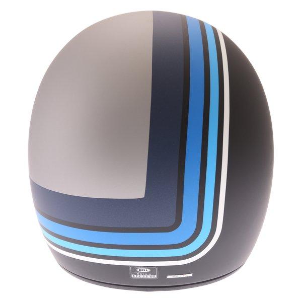 Bell Moto-3 Stripes Silver Black Blue Adventure Motorcycle Helmet Back