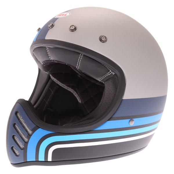 Bell Moto-3 Stripes Silver Black Blue Adventure Motorcycle Helmet Without Detachable Peak