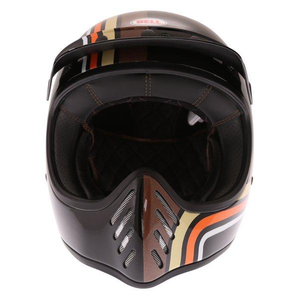 Bell Moto-3 Stripes Black Orange Adventure Motorcycle Helmet Front