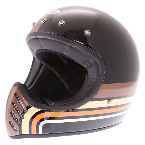 Bell Moto-3 Stripes Black Orange Adventure Motorcycle Helmet Without Detachable Peak