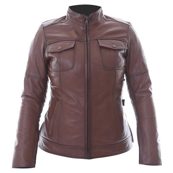 BKS Brandy Ladies Brown Leather Motorcycle Jacket Front