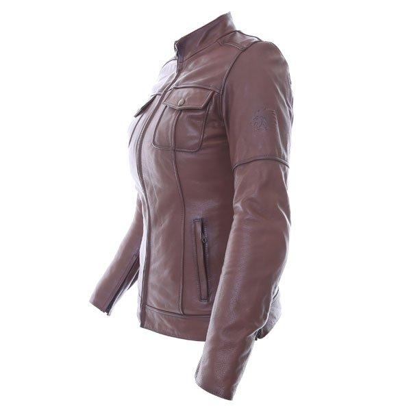 BKS Brandy Ladies Brown Leather Motorcycle Jacket Side