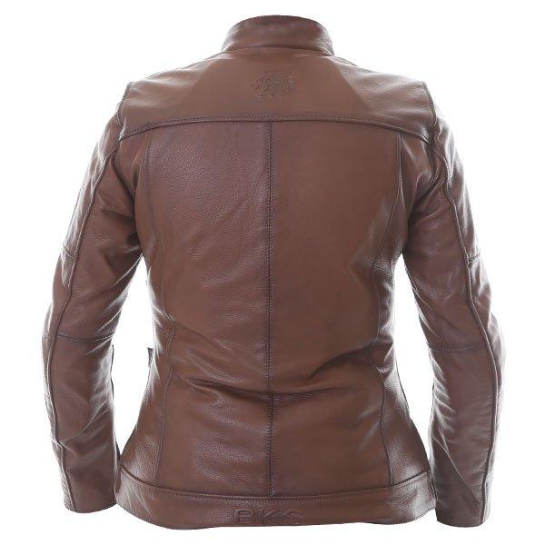BKS Brandy Ladies Brown Leather Motorcycle Jacket Back